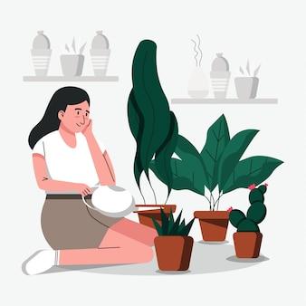 Mulheres regam as plantas e fazem jardinagem