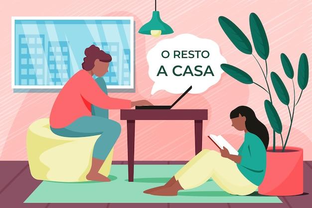 Mulheres relaxando em casa