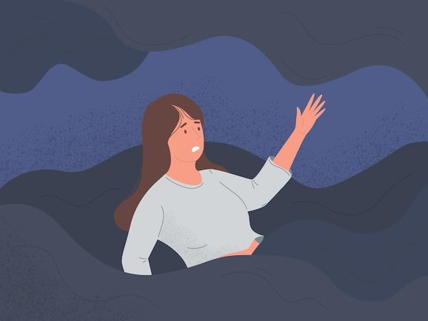 Mulheres se afogam na ilustração tristeza depressão e problemas mentais