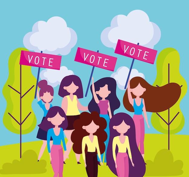 Mulheres seguram cartazes votando