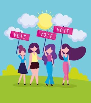 Mulheres segurando cartaz de voto