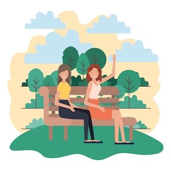 Mulheres sentadas na cadeira do parque com caráter de avatar de paisagem