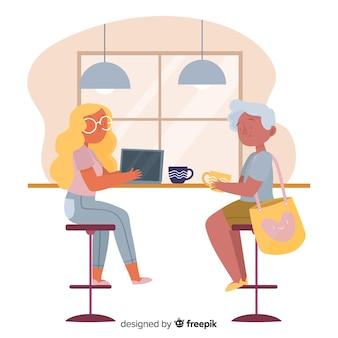 Mulheres, sentando, em, a, café