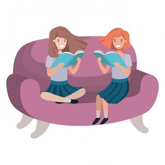 Mulheres, sentando, em, sofá, com, livro, avatar, personagem