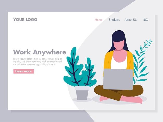 Mulheres, sentando, trabalhando, laptop, ilustração