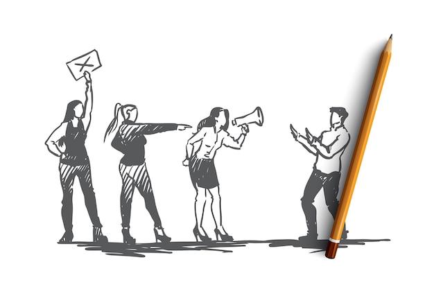 Mulheres, sexual, assédio, conceito de abuso. mão desenhada mulheres falando no megafone contra esboço do conceito de assédio sexual.