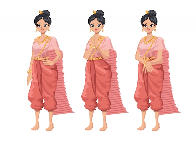 Mulheres tailandesas ajustadas da ilustração no vestido tradicional tailandês.