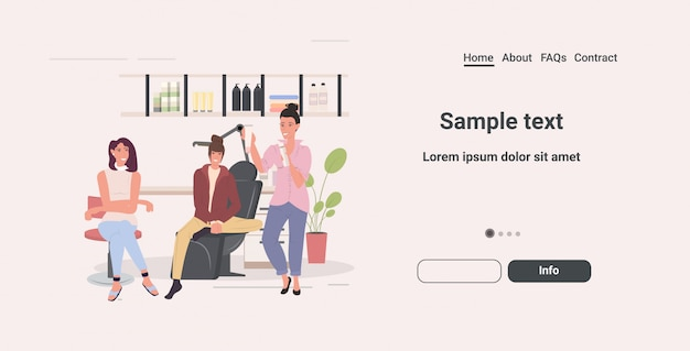 Mulheres teste teste cuidados cosméticos produtos cosméticos cosméticos masterclass moderno salão de beleza comprimento horizontal espaço cópia