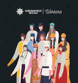 Mulheres trabalhadoras com design de uniformes e máscaras