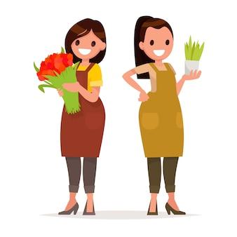 Mulheres trabalhadoras de floristas da loja de flores. ilustração vetorial em estilo simples