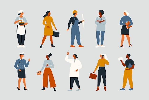 Mulheres trabalhadoras de várias ocupações ou profissões usando uniforme profissional
