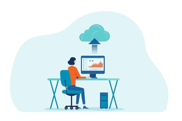 Mulheres trabalhando com tecnologia de computação em nuvem