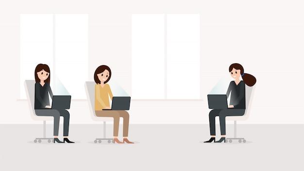 Mulheres, trabalhando, em, modernos, laptop