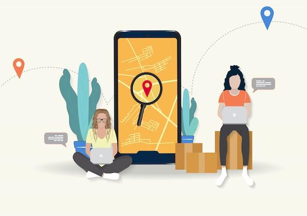 Mulheres trabalhando online para rastreamento e análise de pedidos
