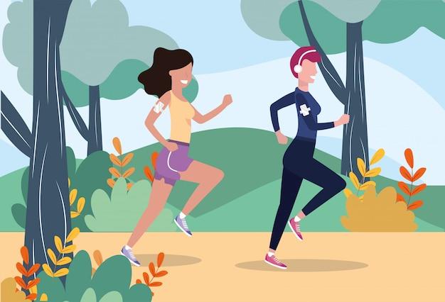 Mulheres, treinamento, executando, desporto, atividade