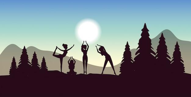 Mulheres treinando postura de ioga com banner de árvores e montanhas