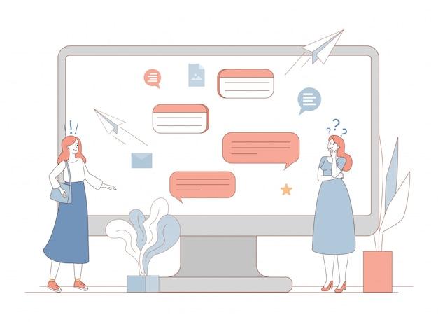 Mulheres trocando mensagens com balões de fala de comunicação. rede social ou conceito de messenger.