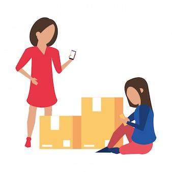 Mulheres, usando, smartphone, tecnologia, caricatura