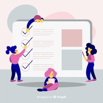 Mulheres verificando fundo de lista de verificação gigante