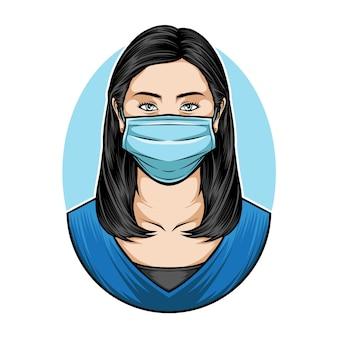 Mulheres vestindo máscara médica
