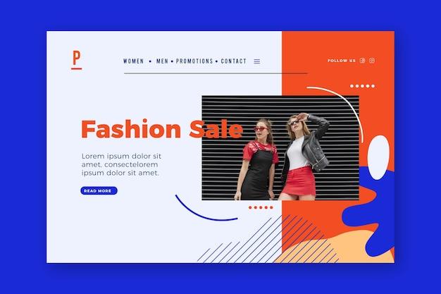 Mulheres vestindo roupas casuais moda página de destino de venda