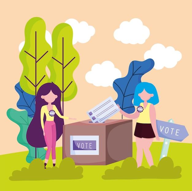 Mulheres votando com caixa de votação