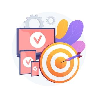 Multi-dispositivo visando ilustração em vetor conceito abstrato. rastreamento e segmentação entre dispositivos, marketing em vários dispositivos, tendências do consumidor em várias telas, metáfora abstrata de otimização de canal.