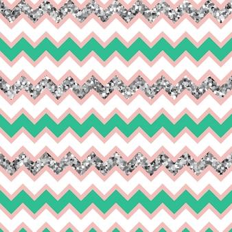 Multicolor glam zigzag pattern com efeito de brilho de prata.
