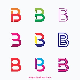 Multicolor letter b logo collection