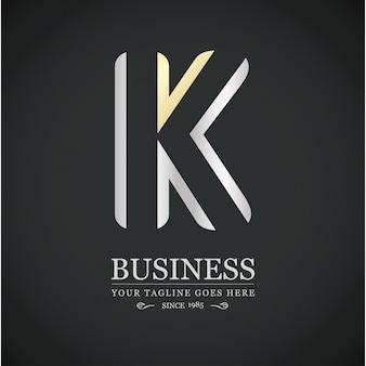 Multicolorida k carta de design de logotipo logo alfabeto