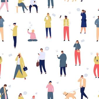 Multidão com padrão sem emenda de telefones. passear pessoas usando smartphones e gadgets. estilo de vida móvel e conceito de vetor de desenho animado de comunicação. homem e mulher viciados em dispositivos, vida online