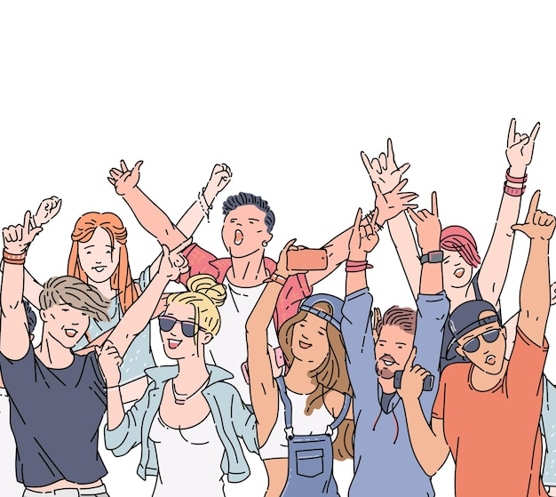 Multidão de desenhos animados de pessoas no festival de música ou show de rock - jovens felizes, homens e mulheres dançando e cantando.