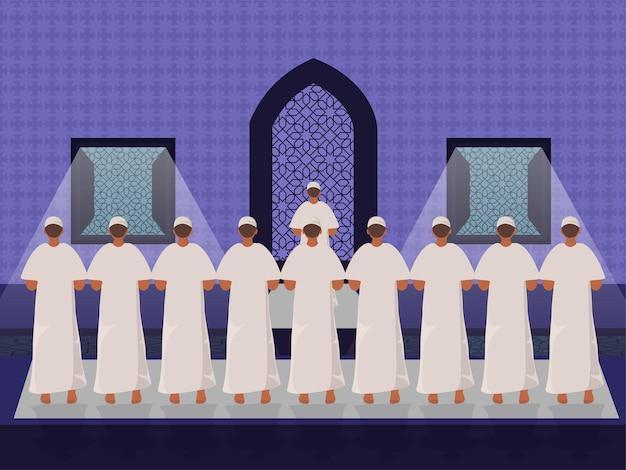 Multidão de devotos muçulmanos orando em frente à mesquita para a celebração do festival islâmico