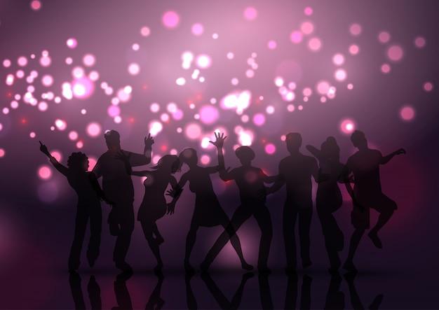 Multidão de festa em bokeh luzes de fundo