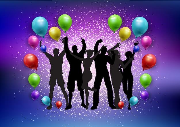 Multidão de festa em um fundo de balões e glitter