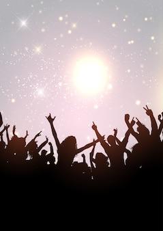 Multidão de festa em uma prata brilhante