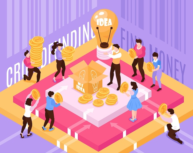Multidão de financiamento de composição isométrica com investidores trazendo ilustração de dinheiro