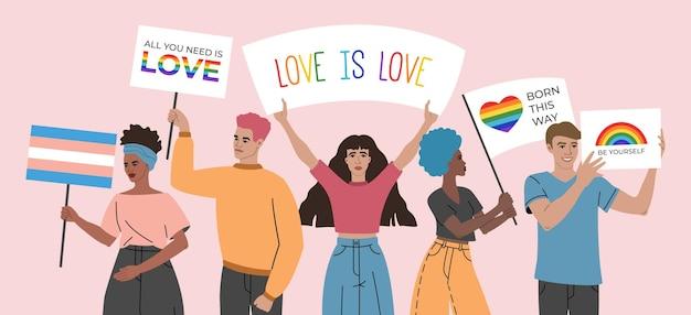 Multidão de jovens segurando cartazes, letreiros e bandeiras com símbolos lgbt e arco-íris, grupo de gays, bissexuais e lésbicas, ativismo contra a discriminação de ilustração em estilo cartoon plana.