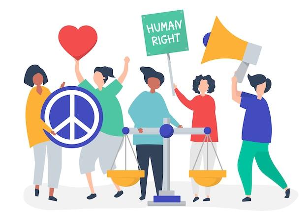 Multidão de manifestantes se unindo para apoiar os direitos humanos