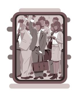 Multidão de passageiros viajando de metrô
