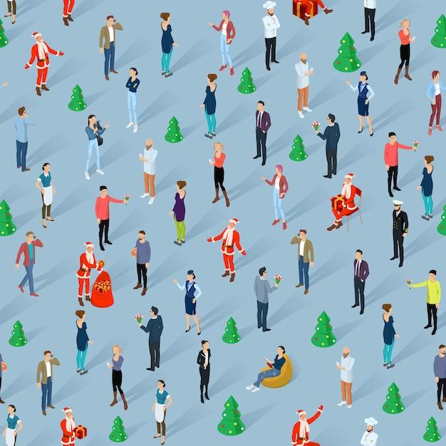 Multidão de pessoas celebrando a festa de natal e ano novo homens e mulheres isométricos diversos estilos, personagens, profissões e poses, papel de parede sem costura modelo
