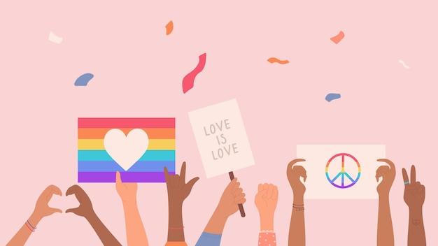 Multidão de pessoas com bandeira de arco-íris