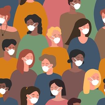 Multidão de pessoas com máscara médica branca para proteção contra coronavírus, padrão sem emenda de quarentena Vetor Premium