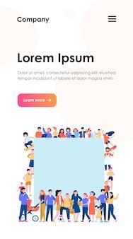 Multidão de pessoas felizes com o modelo da web de cartaz em branco. desenhos animados multiculturais de homens e mulheres juntos