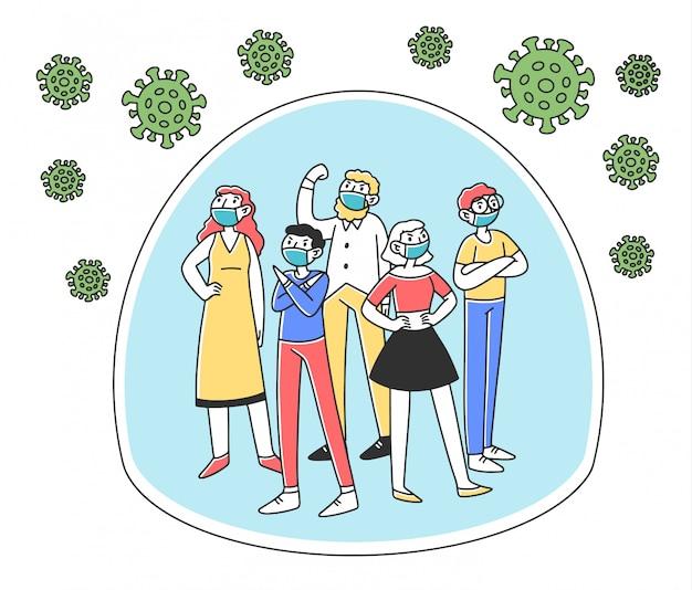 Multidão de pessoas isoladas de vírus