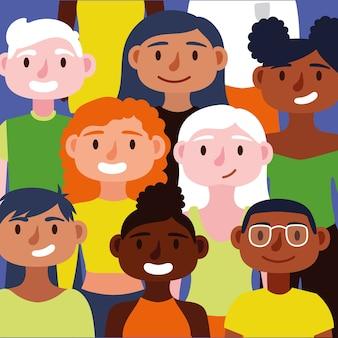 Multidão de pessoas juntas personagens do conceito de inclusão