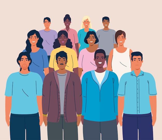 Multidão de pessoas multiétnicas, conceito de diversidade e multiculturalismo