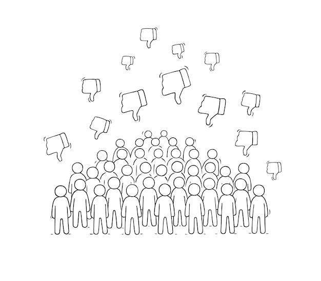 Multidão de pessoas pequenas com aversões.