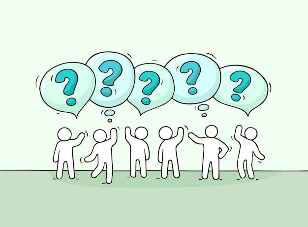 Multidão de pessoas pequenas com balões de fala. doodle cena em miniatura fofa com pessoas que falam. mão-extraídas ilustração dos desenhos animados para negócios e design de internet. Vetor Premium