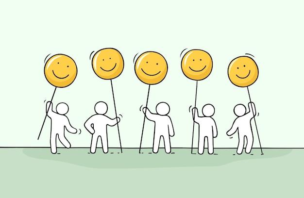 Multidão de pessoas pequenas que trabalham com sorriso canta. desenho animado desenhado à mão